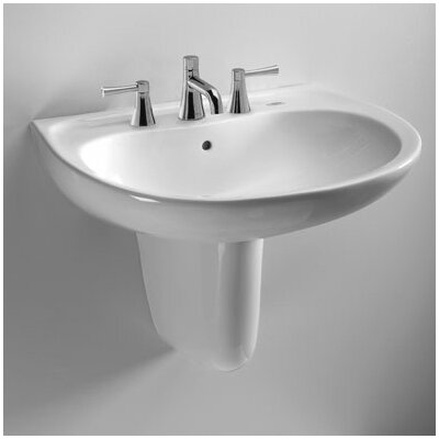 Supreme 22 Wall Mount Bathroom Sink with Overflow Sink Finish: Cotton, Faucet Mount: 4 Centers