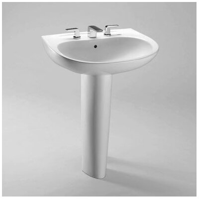 Prominence 26 Pedestal Bathroom Sink with Overflow Sink Finish: Bone, Faucet Mount: 4 Centers