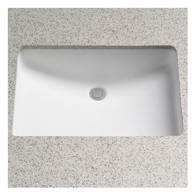 Rimless Ceramic Rectangular Undermount Bathroom Sink with Overflow Sink Finish: Cotton