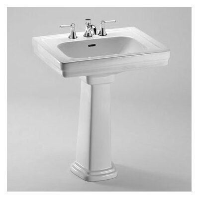 Promenade 28 Pedestal Bathroom Sink with Overflow Sink Finish: Ebony, Faucet Mount: 4 Centers