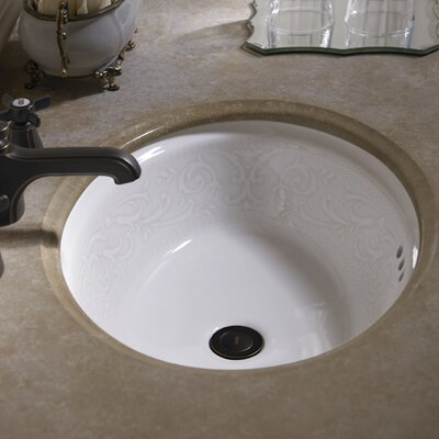 Waza Barocco Oval Undermount Bathroom Sink with Overflow