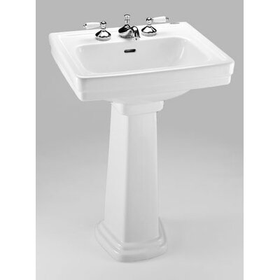 Promenade 24 Pedestal Bathroom Sink with Overflow Sink Finish: Ebony, Faucet Mount: 4 Centers