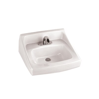Commercial Ceramic 21 Wall Mount Bathroom Sink with Overflow Sink Finish: Cotton, Faucet Mount: Single Hole