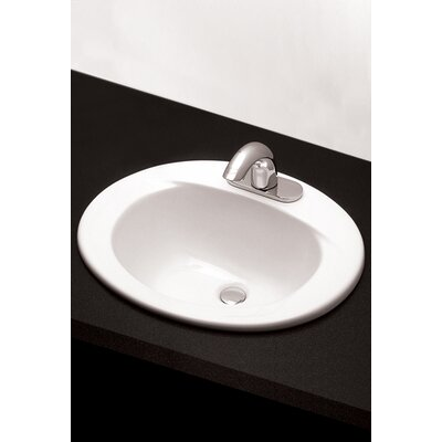 Ceramic Oval Drop-In Bathroom Sink with Overflow Sink Finish: Cotton, Faucet Mount: Single Hole