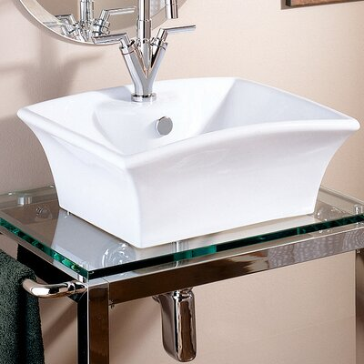 Transparent Natural Glass 31 Console Bathroom Sink with Overflow