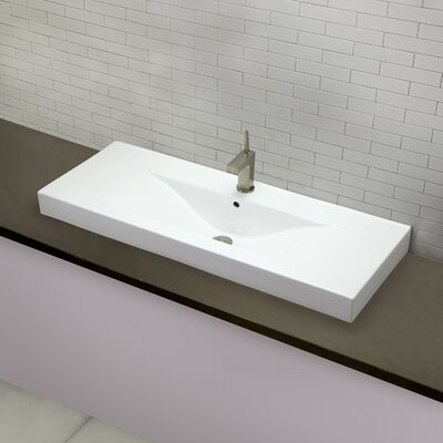 Cityview Rectangular Vessel Bathroom Sink with Overflow Faucet Mount: Single Hole