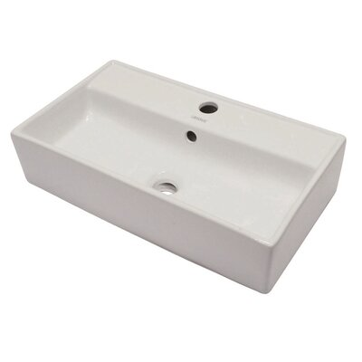 Matt Muenster Exclusive Vitreous China Above Counter Lavatory Rectangular Vessel Bathroom Sink with Overflow