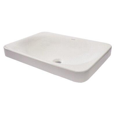 Matt Muenster Exclusive Vitreous China Semi-Recessed Lavatory Rectangular Vessel Bathroom Sink with Overflow
