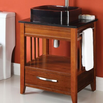 Ambrosia 24 Bathroom Vanity Base Base Finish: Medium Walnut