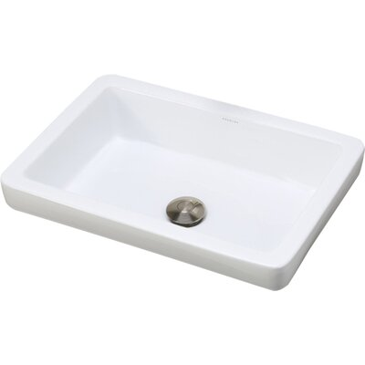 Ambre Classically Redefined Ceramic Rectangular Vessel Bathroom Sink