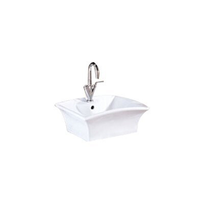 Dahlia Classically Redefined Ceramic Rectangular Vessel Bathroom Sink with Overflow