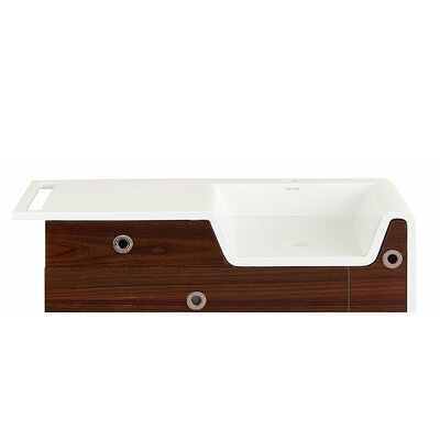 Rylan Falls 42 Vanity with Solid Surface Top & Integrated Lavatory in Purple Macassar Sink Orientation: Right