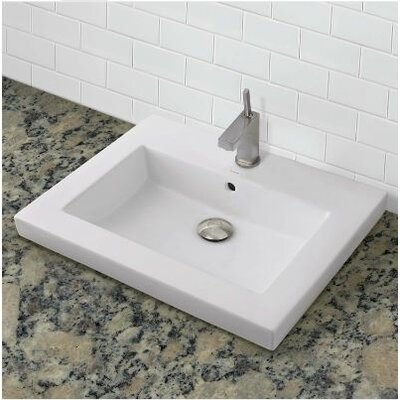 Classically Redefined Rectangular Vessel Bathroom Sink with Overflow