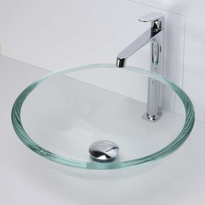 Translucence Transparent Glass Circular Vessel Bathroom Sink Finish: Crystal, Glass: Transparent