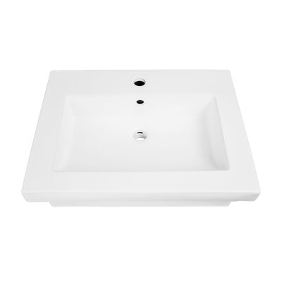 Coral Classically Redefined Rectangular Lavatory 24 Wall Mount Bathroom Sink with Overflow
