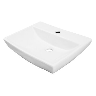 Classically Redefined Vitreous China Rectangular Vessel Bathroom Sink with Overflow