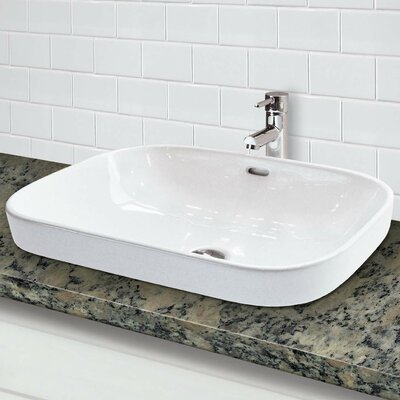 Classically Redefined Semi Recessed Lavatory Rectangular Vessel Bathroom Sink with Overflow