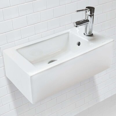 Allona Classically Redefined Vitreous China Rectangular Wall Mount Bathroom Sink with Overflow