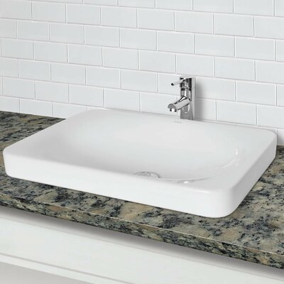Classically Redefined Semi Recessed Drop-In Lavatory Rectangular Vessel Bathroom Sink