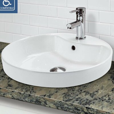 Classically Redefined Semi Recessed Lavatory Circular Vessel Bathroom Sink with Overflow