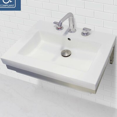 Classically Redefined Rectangular Lavatory 24 Wall Mount Bathroom Sink with Overflow Faucet Mount: 8 Centers