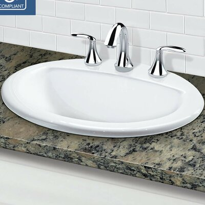 Classically Redefined Vitreous China Oval Drop-In Bathroom Sink with Overflow Faucet Mount: 8 Centers