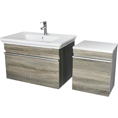 Lakeside 31.5 Single Wall Mounted Vanity Set Base Finish: Gray