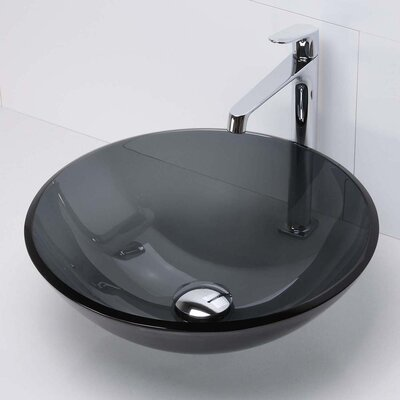 Translucence Transparent Glass Circular Vessel Bathroom Sink Finish: Black, Glass: Transparent