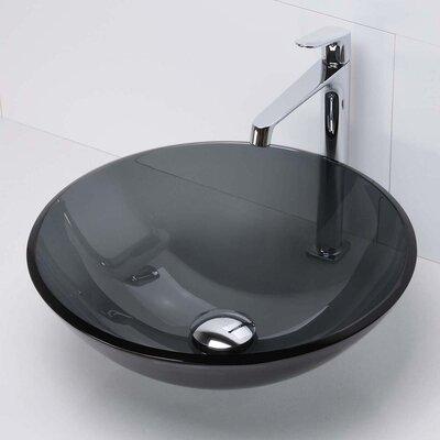 Montana Translucence Glass Circular Vessel Bathroom Sink Finish: Black, Finish: Transparent