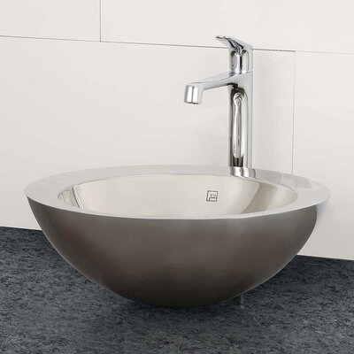 Simin Stainless Steel Metal Circular Vessel Bathroom Sink with Overflow Sink Finish: Brushed Steel