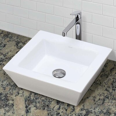 Classically Redefined Ceramic Rectangular Vessel Bathroom Sink with Overflow Sink Finish: White