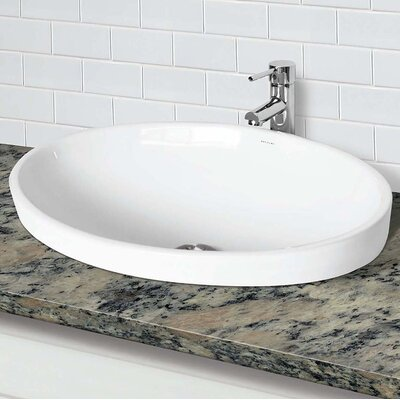 Delphine Classically Redefined Vitreous China Oval Drop-In Bathroom Sink with Overflow