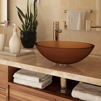 Anani Translucence Glass Circular Vessel Bathroom Sink Sink Finish: Frosted Amber