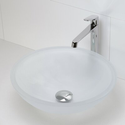 Translucence Glass Circular Vessel Bathroom Sink Sink Finish: Frosted Crystal