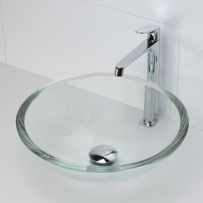 Anani Translucence Glass Circular Vessel Bathroom Sink Sink Finish: Transparent Crystal