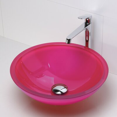 Translucence Glass Circular Vessel Bathroom Sink Sink Finish: Painted Pink