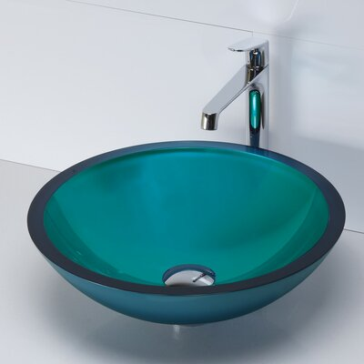Translucence Glass Circular Vessel Bathroom Sink Sink Finish: Painted Turquoise