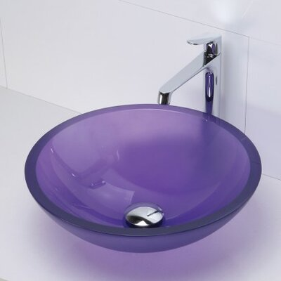Translucence Glass Circular Vessel Bathroom Sink Sink Finish: Frosted Violet
