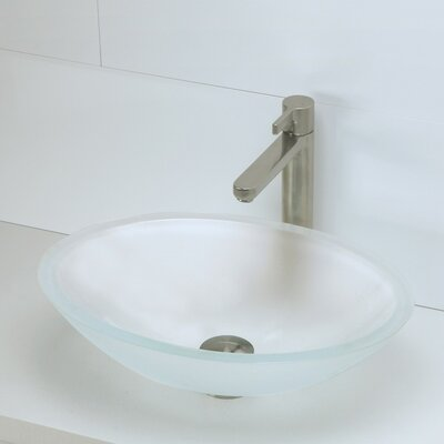 Translucence Glass Oval Vessel Bathroom Sink Sink Finish: Frosted Crystal