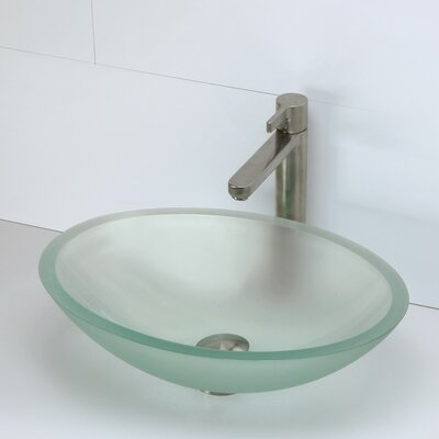 Translucence Glass Oval Vessel Bathroom Sink Sink Finish: Frosted Natural