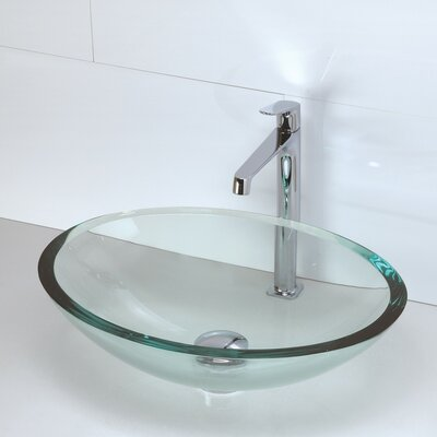 Translucence Glass Oval Vessel Bathroom Sink Sink Finish: Transparent Crystal
