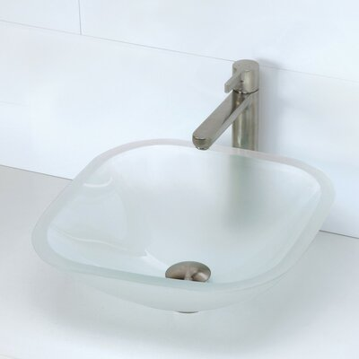 Kesia Translucence Glass Square Vessel Bathroom Sink Sink Finish: Frosted Crystal
