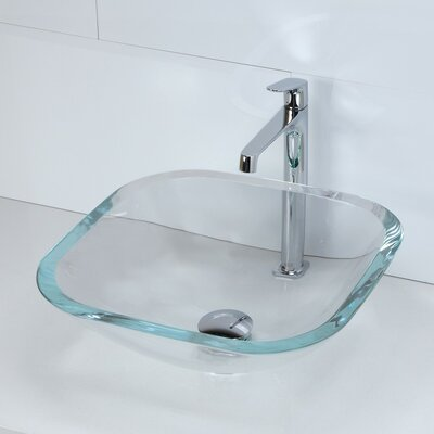 Transparent Glass Square Vessel Bathroom Sink Sink Finish: Transparent Crystal