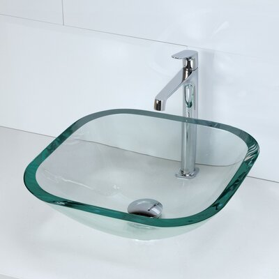Kesia Translucence Glass Square Vessel Bathroom Sink Sink Finish: Transparent Natural