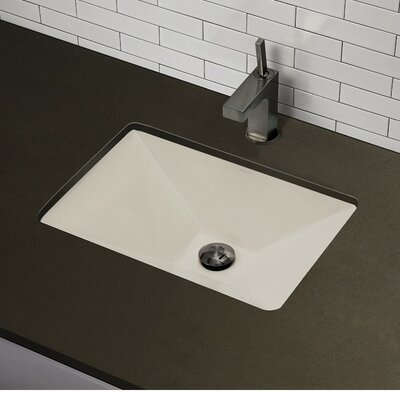 Amabella Classically Redefined Ceramic Rectangular Undermount Bathroom Sink with Overflow Finish: Biscuit