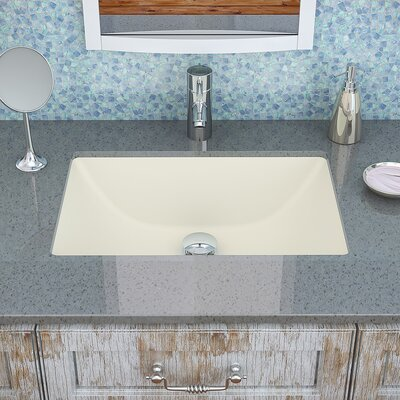 Callensia� Classically Redefined Ceramic Rectangular Undermount Bathroom Sink with Overflow Finish: Biscuit