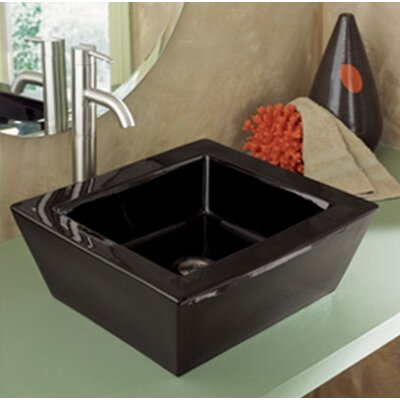 Classically Redefined Ceramic Rectangular Vessel Bathroom Sink with Overflow Sink Finish: Black