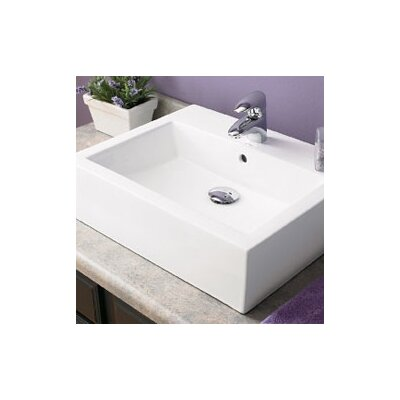 Classically Redefined Ceramic Rectangular Vessel Bathroom Sink with Overflow Faucet Mount: Single Hole