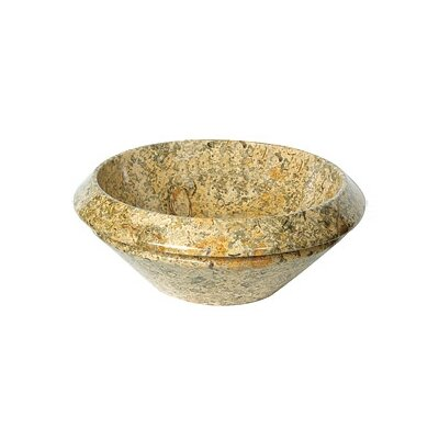 A Perfect Chisel Stone Circular Vessel Bathroom Sink Sink Finish: Fossil Marble
