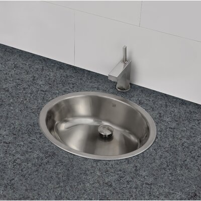 Taji Stainless Steel Metal Oval Undermount Bathroom Sink with Overflow Sink Finish: Brushed Steel